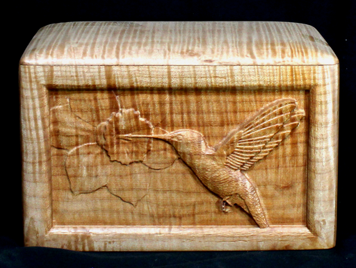 Big Leaf Maple Urn with Carved Hummingbird (AA01)
