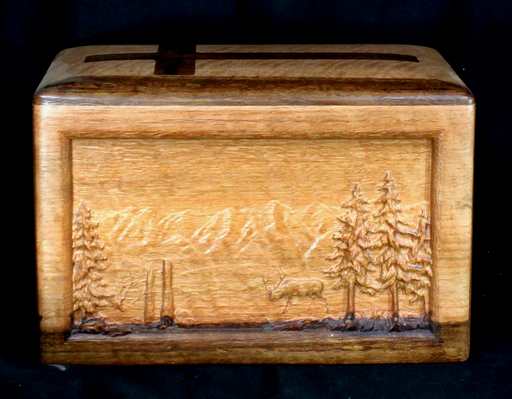 Tan Oak Urn with Elk and Mountain Scene (AA03)