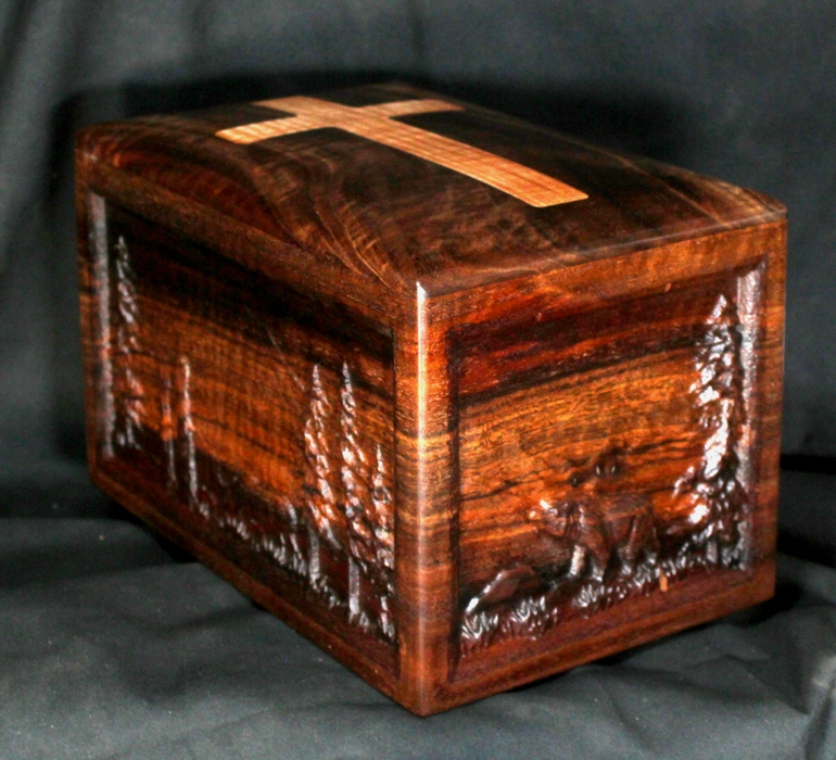 Claro Walnut Urn with Wildlife Scene (AA10)
