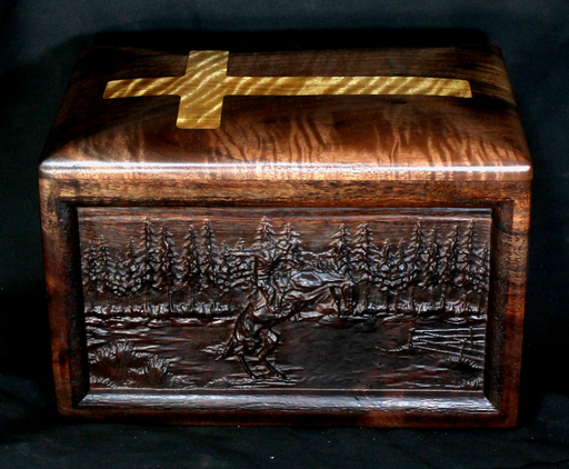 Walnut Urn with Western Last Ride Theme (AA15)