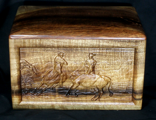 Myrtle Handmade Urn with Cowboys and Cattle