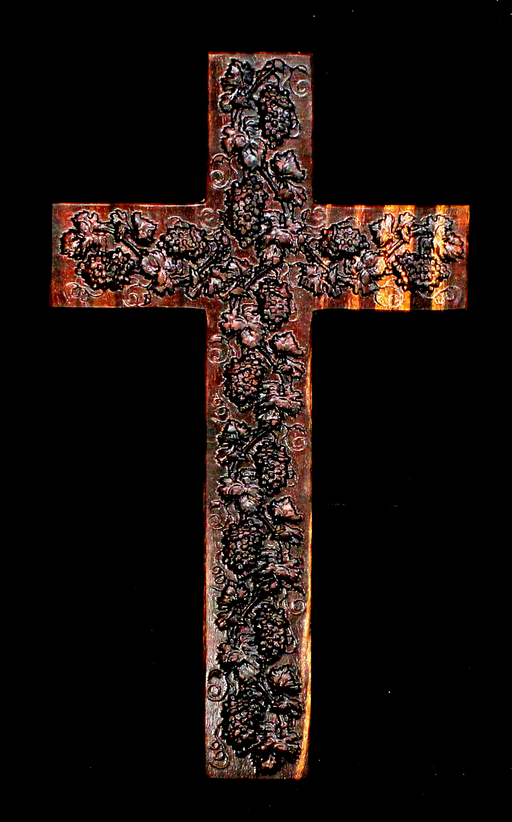 Claro Walnut Cross with Carved Grapes (AB01)