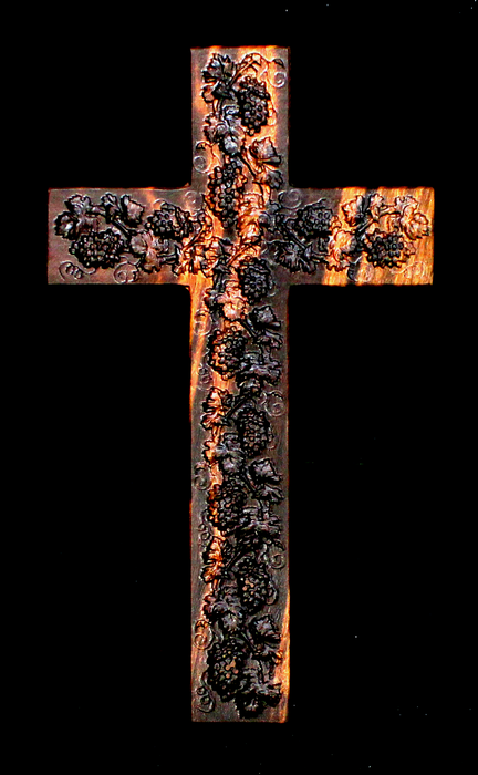 Claro Walnut Cross with Carved Grapes (AB02)