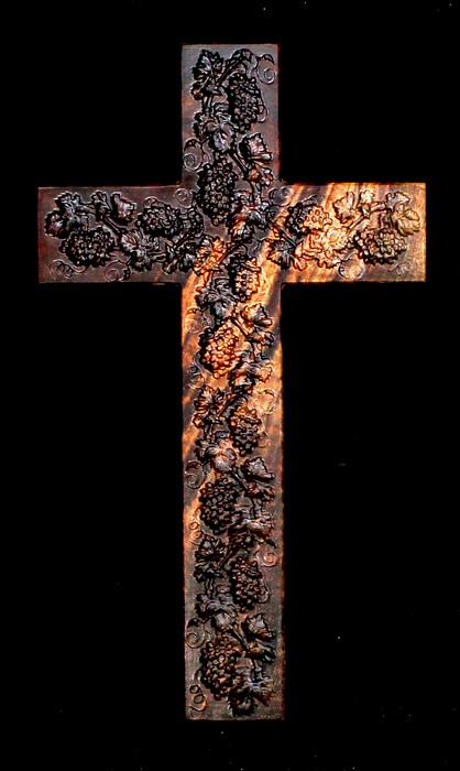 Claro Walnut Cross with Carved Grapes (AB03)