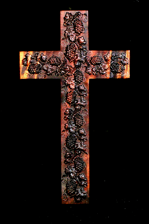 Claro Walnut Cross with Carved Grapes (AB04)