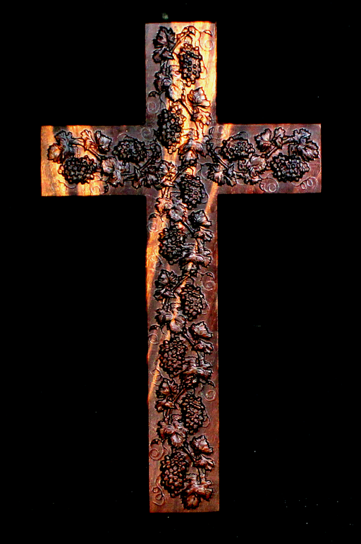 Claro Walnut Cross With Carved Grapes (AB05)