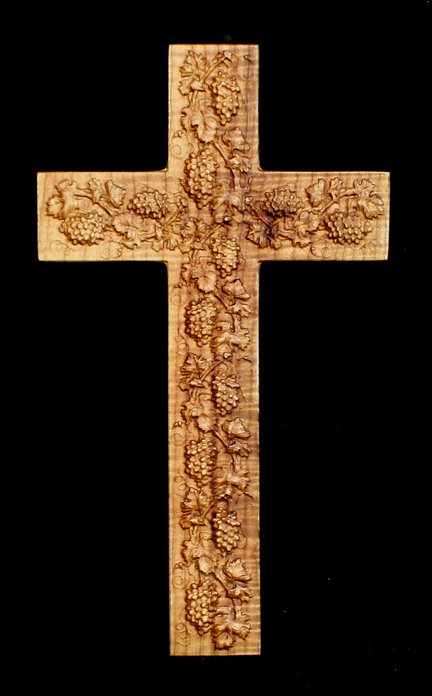 Big Leaf Maple Cross with Carved Grapes