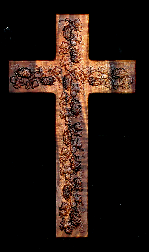 Claro Walnut Cross with Carved Grapes (AB16)