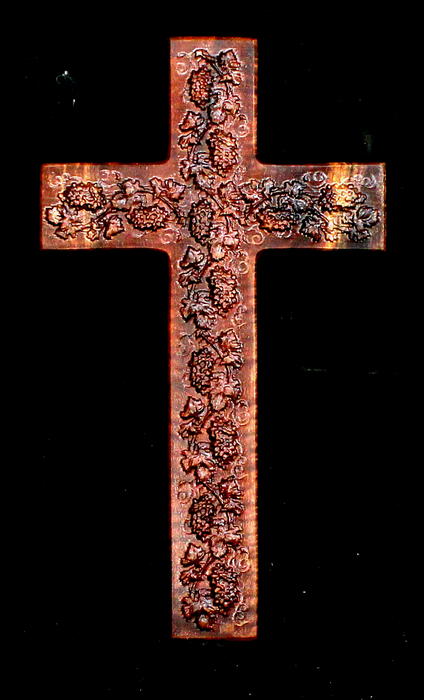 Claro Walnut Cross with Carved Grapes (AB17)