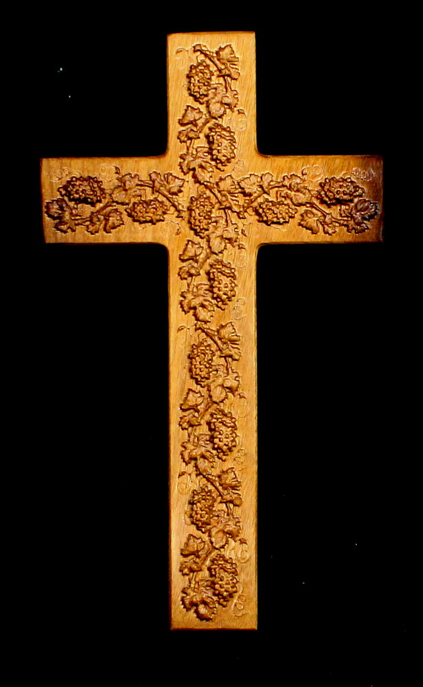 Myrtle Cross with Carved Grapes (AB21)