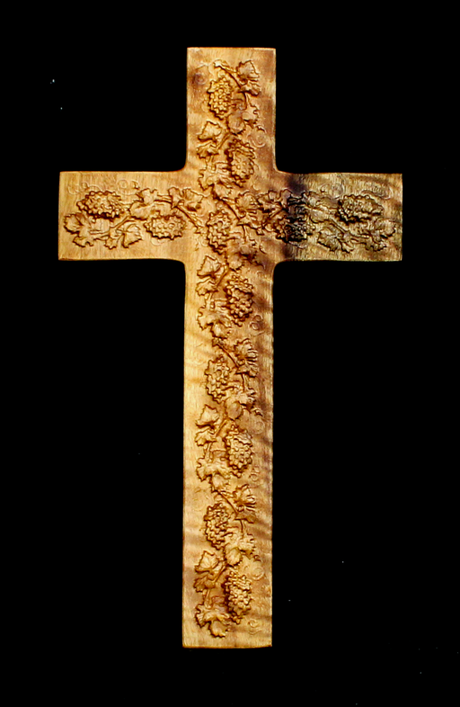 Myrtle Cross with Carved Grapes (AB23)