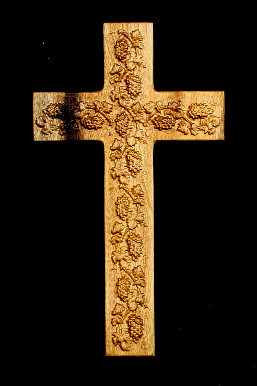 Myrtle Cross with Carved Grapes (AB24)