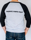 Monkey Knife Fight Men's Baseball 3/4 Sleeve T-Shirt