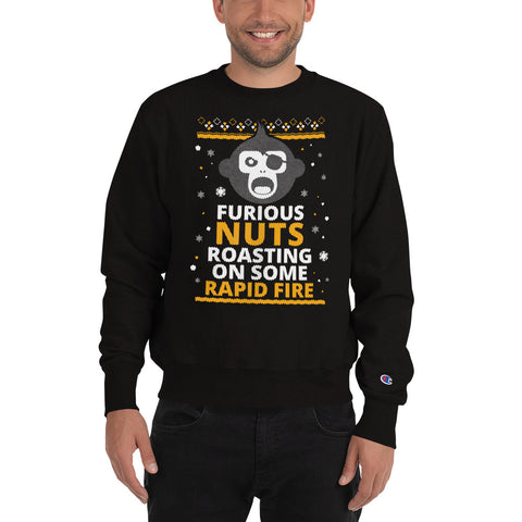 Furious Nuts Roasting on some Rapid Fire Ugly Christmas Champion Sweatshirt