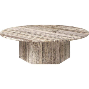 Gubi Salontafel Epic salontafel ø110 x H: 34 cm / Grijs Travertine 10042377