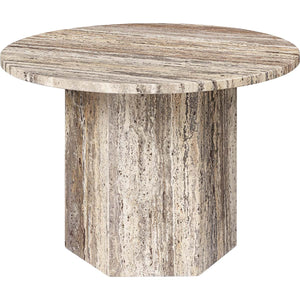 Gubi Salontafel Epic salontafel ø60 x H: 42 cm / Grijs Travertine 10042382