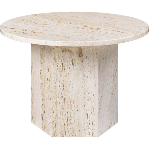 Gubi Salontafel Epic salontafel ø60 x H: 42 cm / Wit Travertine 10042381