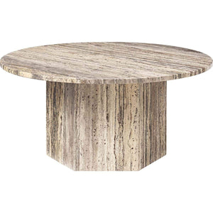 Gubi Salontafel Epic salontafel ø80 x H: 38.5 cm / Grijs Travertine 10042387