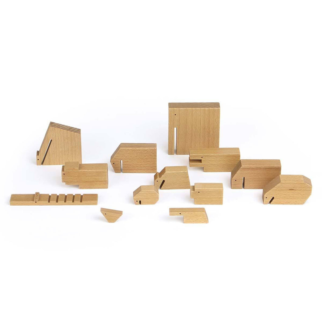 Ikonic Speelgoed Wooden Animals large set naturel 190221