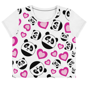 Nik Nak Pandy Hearts All-Over Print Crop Tee