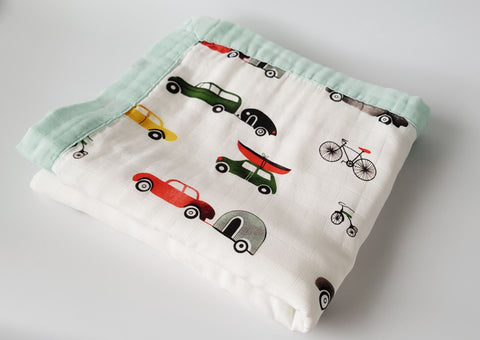 Delux Snuggle Muslin Blanket - Cars - MAMAS + MINIS