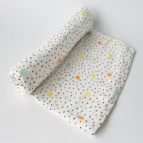 Delux Muslin Swaddle - Spots - MAMAS + MINIS