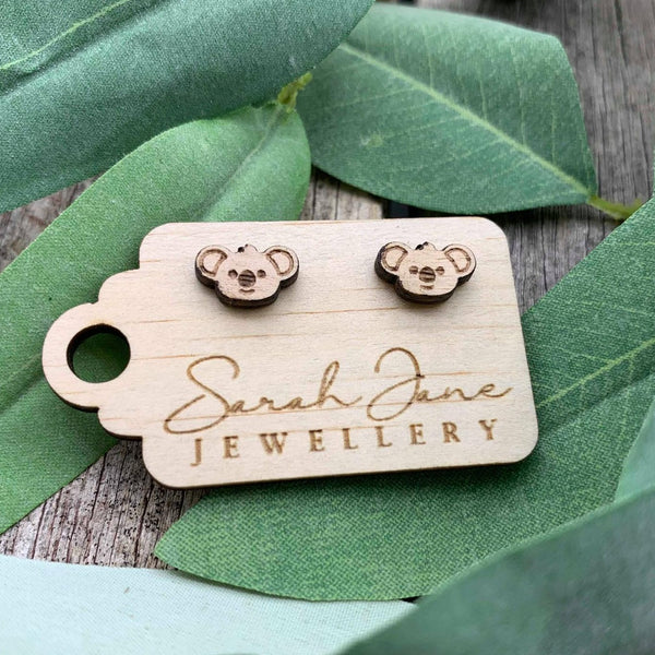 Handmade Wooden Australian Koala Earrings