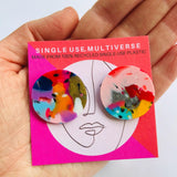 Made from 100% recycled single-use plastic- 'Colour-Bomb' Studs
