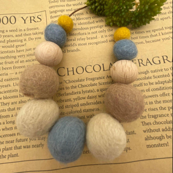 Handmade Felt Bead Necklace - Mustard/Grey