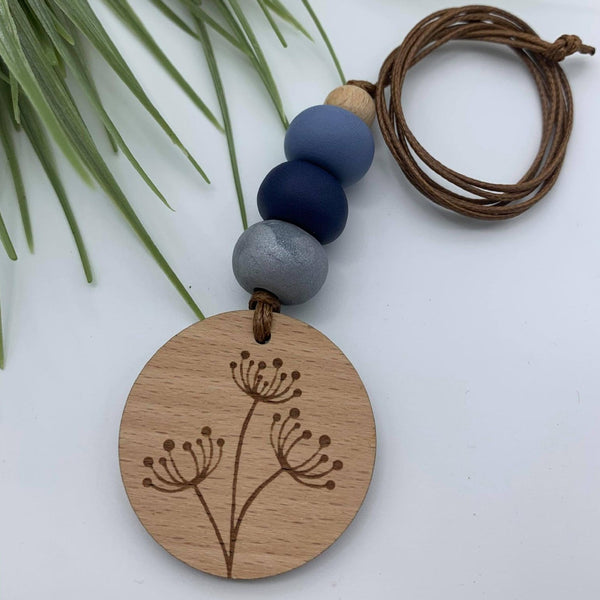Handmade Clay Dandelion Pendant Necklace - Powder Blue/Navy Blue/Silver