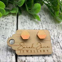 Handpainted Wooden Hexagon Earrings - Peach