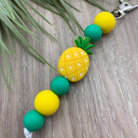 Handmade Silicone Bead Bag Tag/Keyring - Pineapple