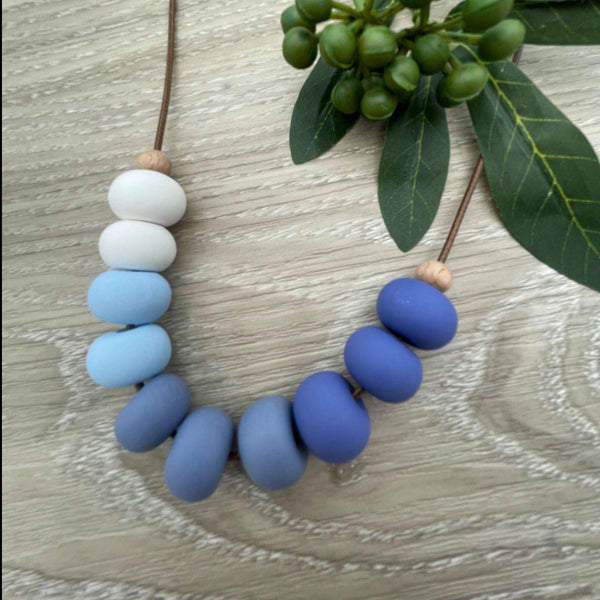 Handmade Clay Bead Necklace - Blue