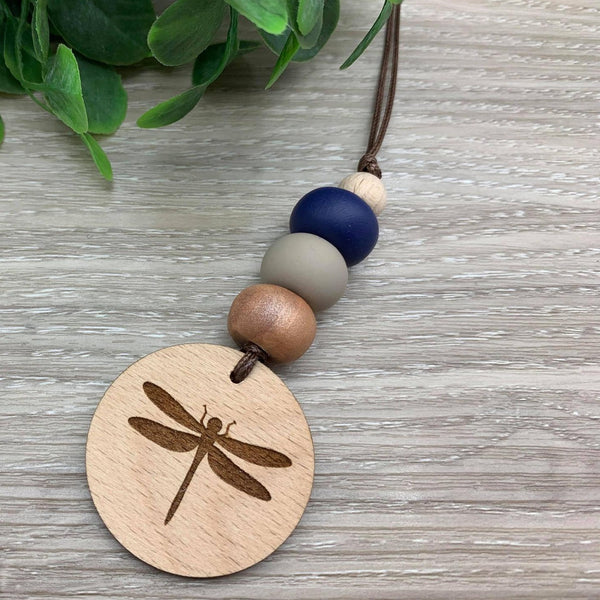Handmade Clay Dragonfly Pendant Necklace - Navy/Stone/Swirl