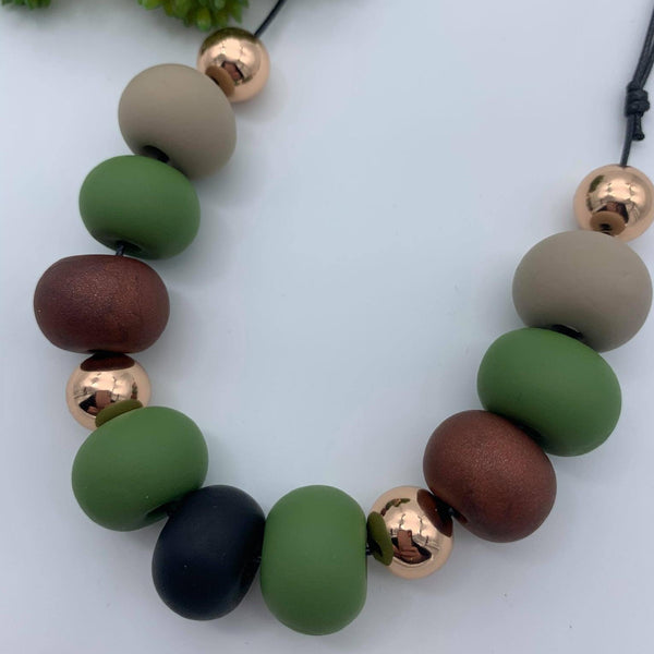 Handmade Clay 'Elegance' Bead Necklace - Olive/Burgundy