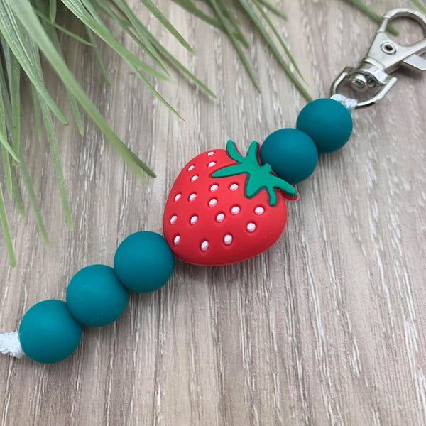 Handmade Silicone Bead Bag Tag/Keyring - Strawberry