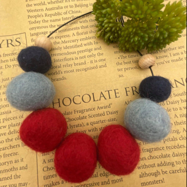 Handmade Felt Bead Necklace - Red/Navy