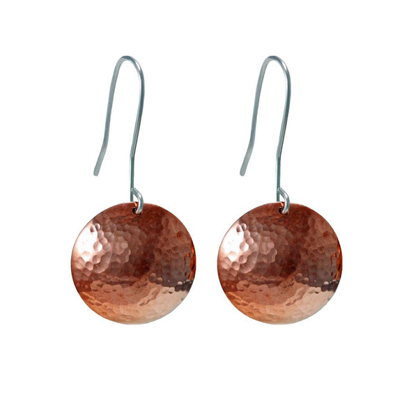 Copper domed full moon drop earrings