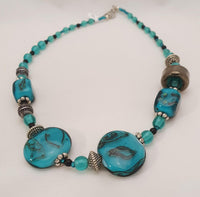 Teal and Black Handmade Bead Necklace