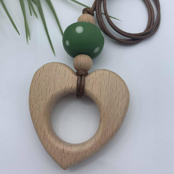 Handmade Clay/Wood Combo Heart Pendant Necklace - Olive Spot