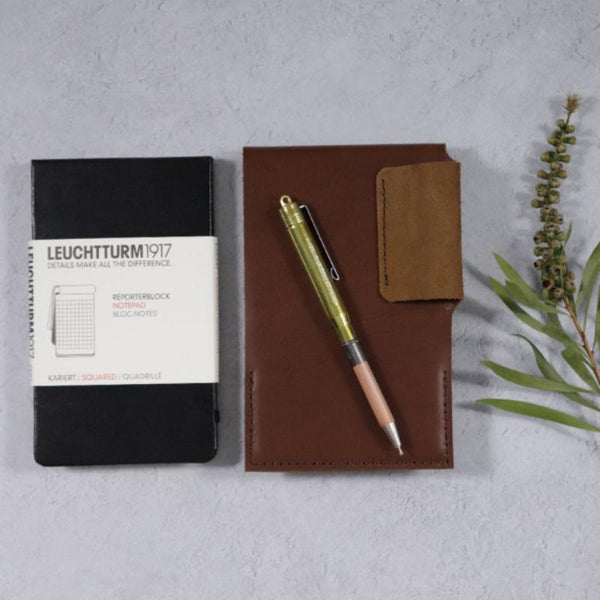 Leather Reporter Flip Notepad Set