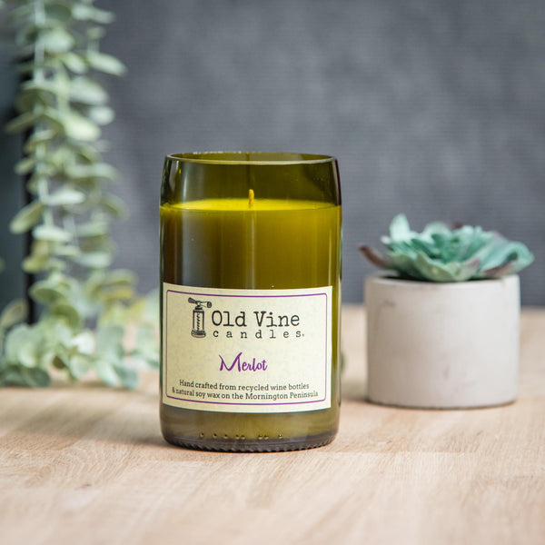 'Merlot' Recycled Wine Bottle Candle