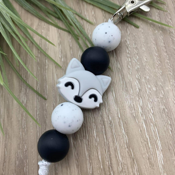 Handmade Silicone Bead Bag Tag/Keyring - Grey Fox