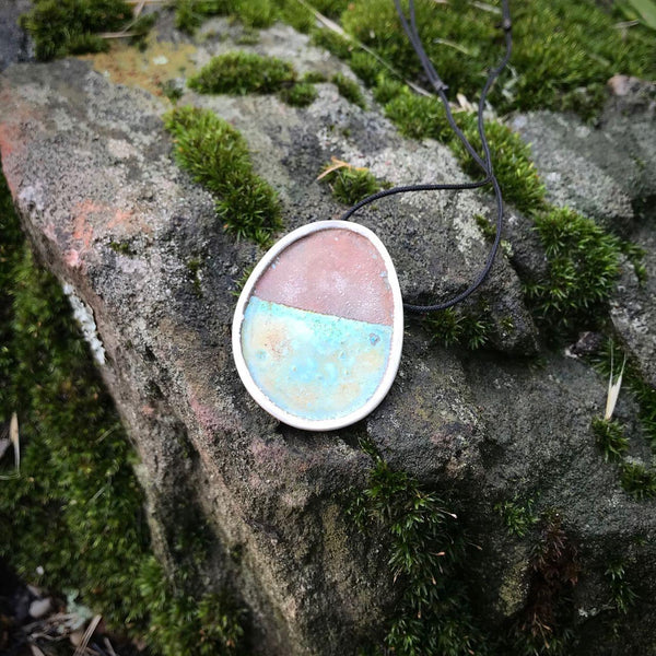 Recycled Sterling Silver and Enamel Pendants