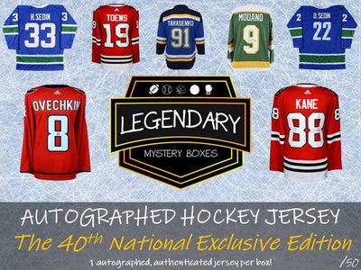 NUMBERS FORMAT: LOADED PRODUCT HUGE NAMES 2019 LEGENDARY Autographed Hockey Jersey - 40th NATIONAL EXCLUSIVE Edition ID 19LEGJERSHOCK40TH107