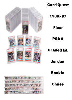 GRADED JORDAN QUEST: 1986_87 Fleer Graded PSA 8 ID JORDANQUEST115