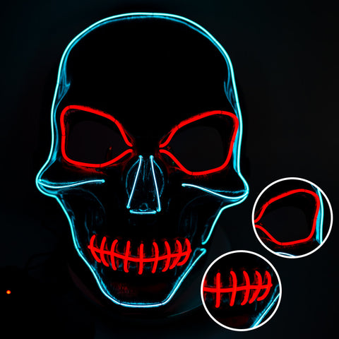 Skull Face Mask LED Light Up, Scary Skeleton Grim Reaper Costume Mask - 3 Otters