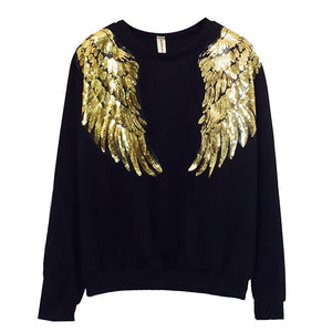 Gold Sequins Angel Wings