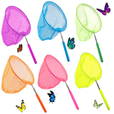 Telescopic Butterfly Fishing Nets, 6 Pack Insect Catching Nets Butterfly Net Bug Nets for Kids, Extendable from 15 inch to 34 inch