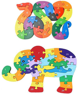 3 otters Blocks Jigsaw Puzzles, Wooden Alphabet Jigsaw Puzzle Wooden Building Blocks Animal Wooden Puzzle for Children's Puzzles Toys - Snake & Elephant